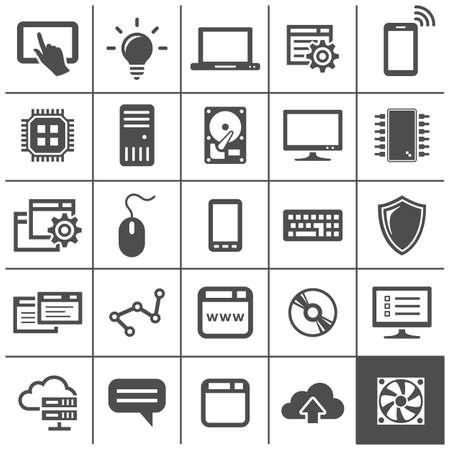 simplus: Iconos de la tecnolog�a inform�tica. Los dispositivos de red y conexiones. Serie Simplus. Ilustraci�n vectorial