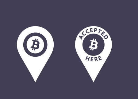 Bitcoins accepted here signs.  Vector