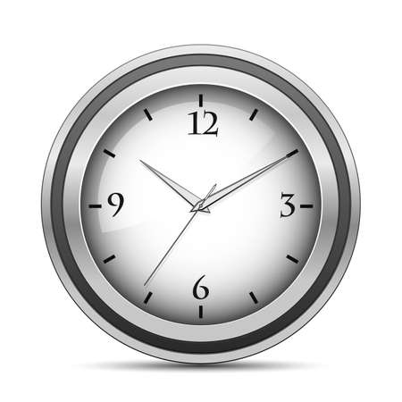 office clock: Ilustraci�n vectorial de un reloj met�lico oficina
