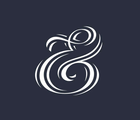 orthographic symbol: Elegant and stylish custom ampersand for print template, invitation or greeting card. Vector illustration