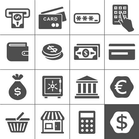 simplus: Finanzas y dinero icono conjunto. Simplus iconos serie de vectores