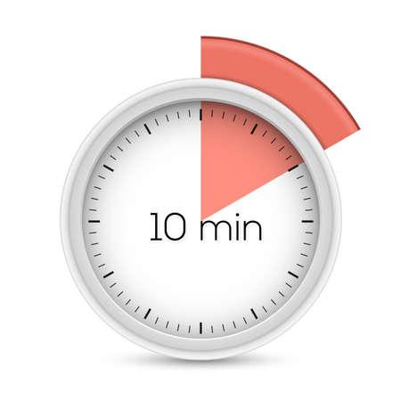 Ten minutes stopwatch timer. 10 minutes alert. Vector illustration.