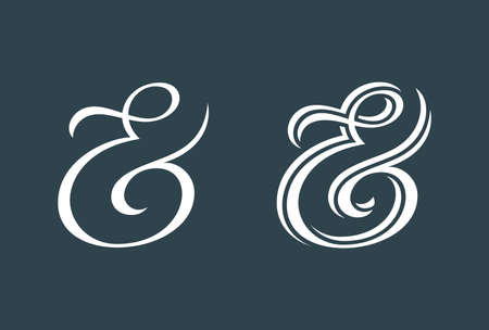 orthographic symbol: Elegant and stylish custom ampersands for print template, invitation or greeting card. Vector illustration Illustration