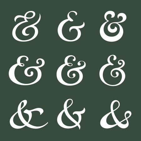ampersand: Custom decoration ampersands for wedding invitation. Polished hand drawn type. Vector illustration Illustration