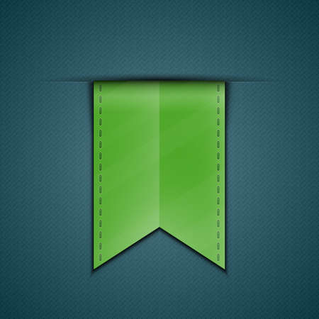 tape marker: Green bookmark decoration ribbon on blue fabric background. Stitched silky ribbon. Vector illustration
