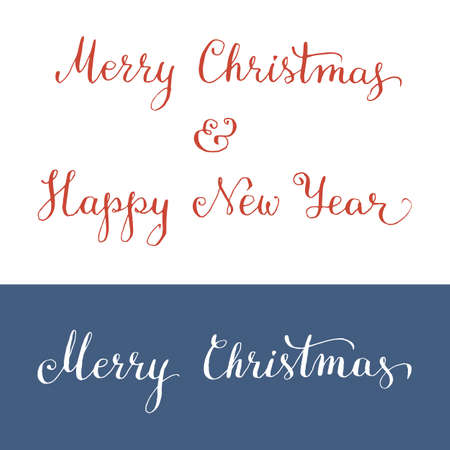 Hand written Merry Christmas and Happy New Year. Vector illustration Vector