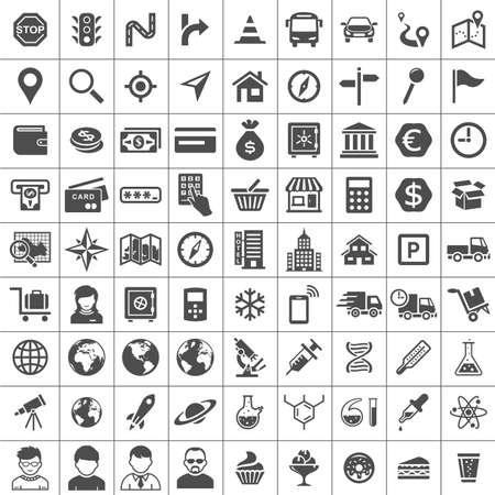 simplus: Icono universal Set. 81 iconos. Transporte, negocios, finanzas, investigaci�n y iconos sociales. Serie Simplus Vectores