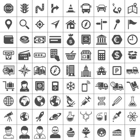 Universal Icon Set. 81 icons. Transport, business, financial, research and social icons. Simplus series Illustration