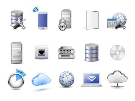Cloud Hosting Icons. Server, Datenbanken, Netzwerkgeräte und Cloud-Computing-Konzept. Sehr detaillierte Vektor-Icons Illustration