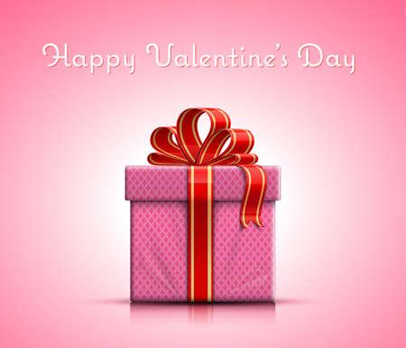 bounty: Feliz Día de San Valentín. Caja de regalo de San Valentín con la cinta en el fondo de color rosa. Ilustración vectorial Vectores