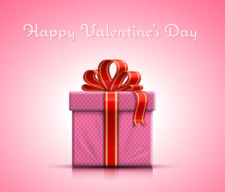 Happy Valentines Day. Valentine gift box with ribbon on pink background. Vector illustration