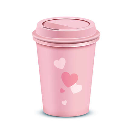lid: Pink coffee cup. Valentines card with a coffee cup. Vector illustration