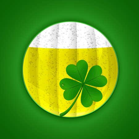 patric day: Beer and four-leaf clover. St. Patricks day symbols. Vector illustration