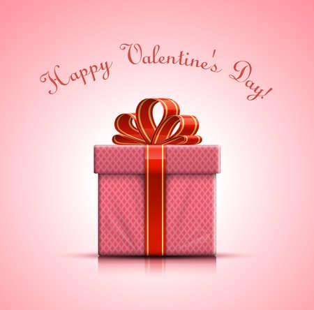 pink bow: Feliz D�a de San Valent�n. San Valent�n caja de regalo rosa con arco. Ilustraci�n vectorial Vectores