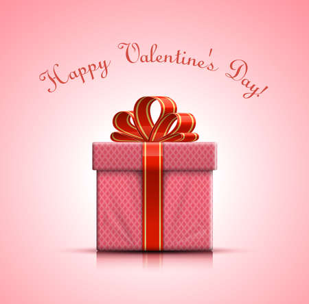 red gift box: Happy Valentines Day. Valentine pink gift box with bow. Vector illustration