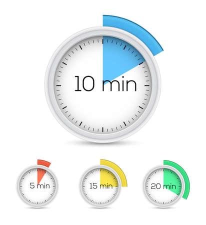 Conjunto de temporizadores - cinco, diez, quince y veinte minutos. Ilustración vectorial Foto de archivo - 35500591