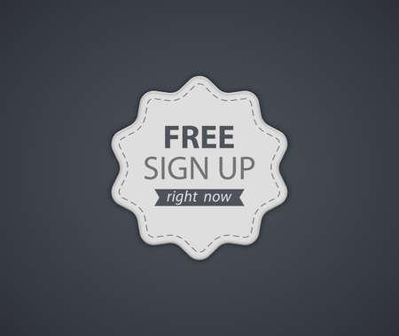 bage: Free Sign Up Label. Vector illustration