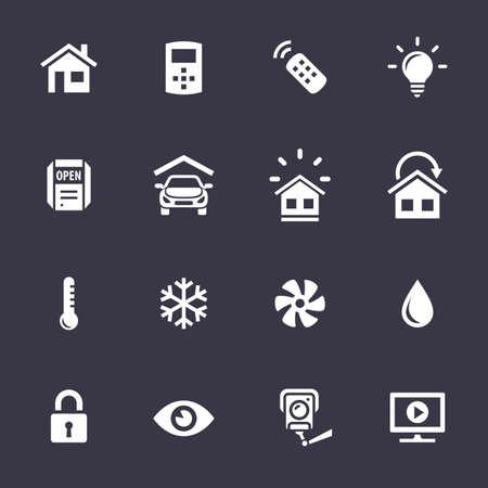 스마트 홈과 스마트 하우스 아이콘. 홈 자동화 제어 시스템. Simplus 시리즈 벡터 아이콘