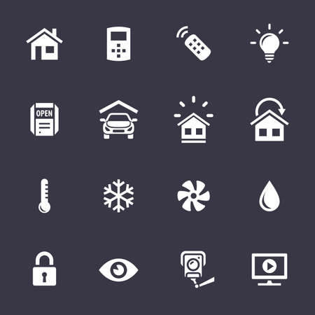 domestic garage: Smart Home and Smart House Icons. Home automation control systems. Simplus series vector icons