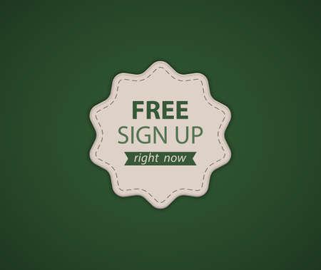 bage: Green Free SignUp label. Vector illustration