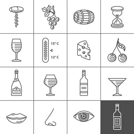 Wine icons set - procurement, storage, cellar rotation and tasting. Vector icons for wine labels. Simplines series Ilustração