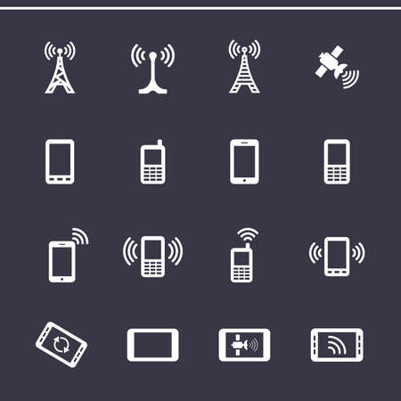 transmitter: Mobile devices and wireless technology. Vector icons