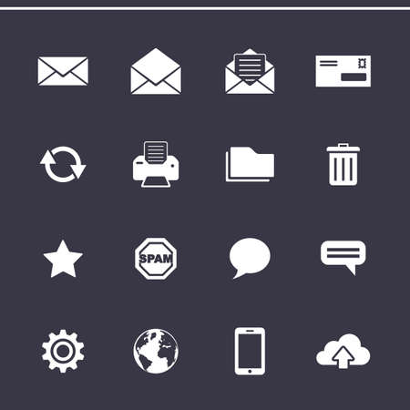 control panel: Email marketing icons. E-mail service control panel. Vector icons