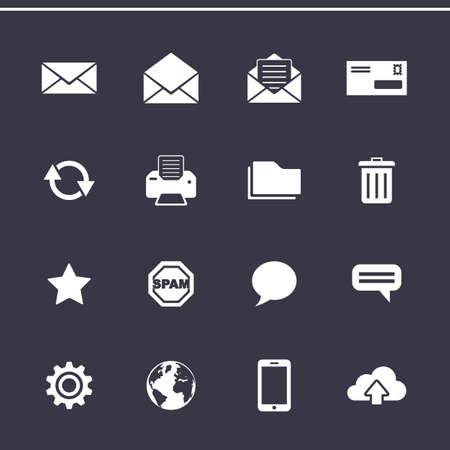 tablero de control: Iconos de email marketing. Panel de control de servicio de correo electr�nico. Iconos del vector