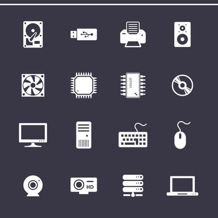 hardware: Iconos de componentes de ordenador personal. Equipo de hardware. Iconos del vector