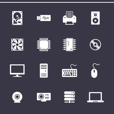 computer hardware: Personal computer component icons. Computer hardware. Vector icons