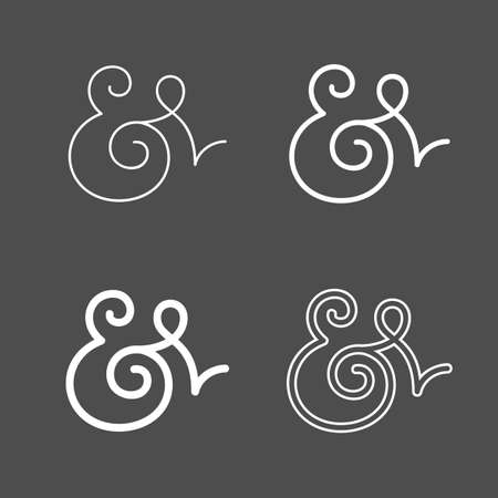 orthographic symbol: Elegant and stylish custom ampersands for wedding invitation or business card. Vector illustration