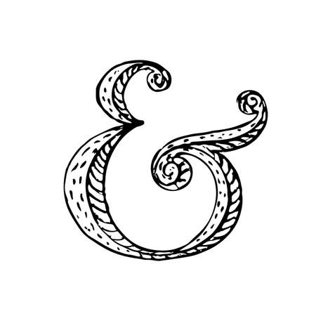fleuron: Hand lettering ampersand. Vector illustration