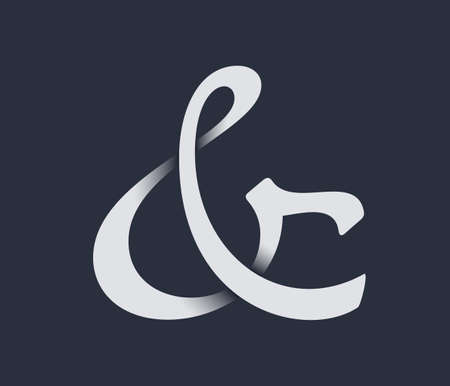 orthographic symbol: Custom ampersand with shadow. Vector illustration