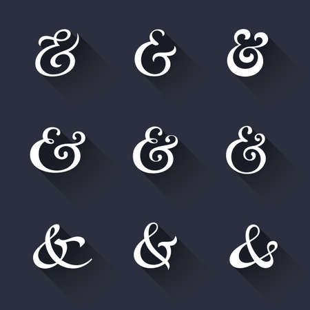 orthographic symbol: Custom decoration ampersands with long shadows. Polished hand drawn type. Vector illustration