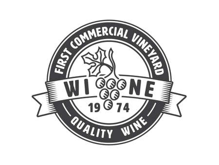 Vintage badge or logo template for winery. Vector illustration