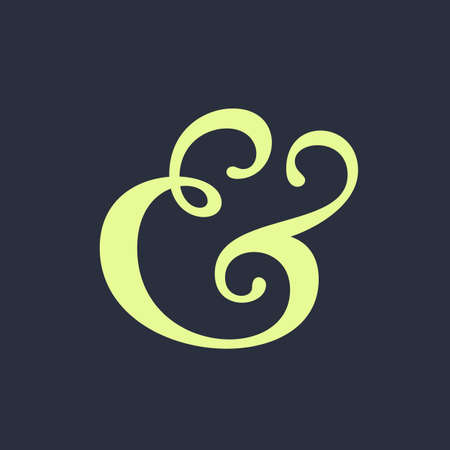 ligature: Handwritten ampersand symbol for wedding invitation. Vector illustration Illustration