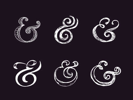 orthographic symbol: Hand lettering ampersands. Vector illustration