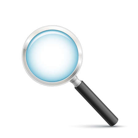 scrutiny: Hand lens icon. Symbolic representation for the ability to search or zoom. Magnifying glass vector illustration