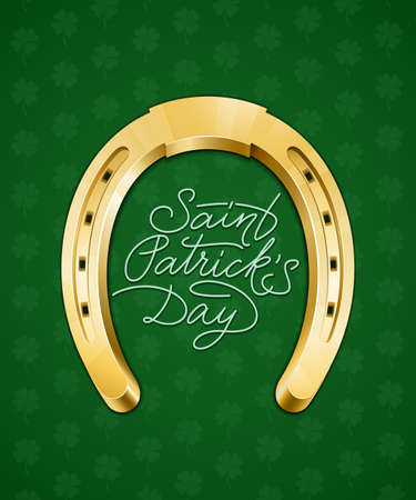 animal st  patricks day: Saint Patricks Day hand lettering card with horseshoe. Vector illustration Illustration