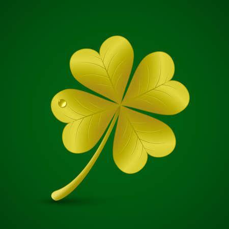 goodluck: Four leaf golden clover. Vector illustration. St. Patricks day symbol Illustration