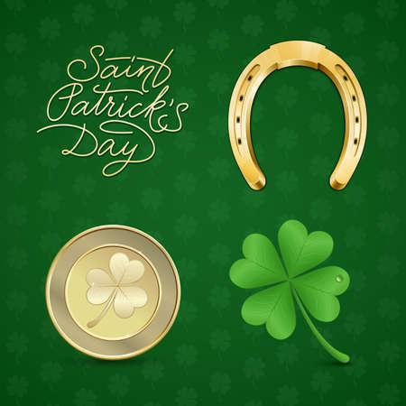 golden horseshoe: Saint Patricks illustration set.  Symbols of good luck - clover and horseshoe. Vector illustration Illustration