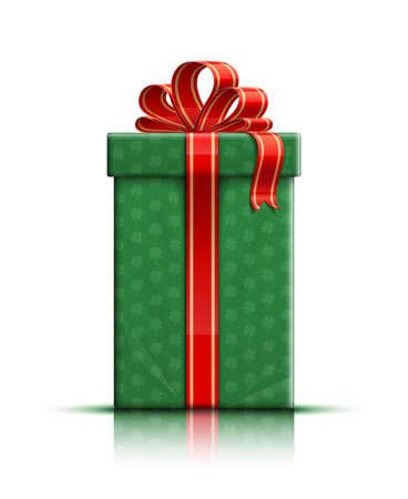 irish christmas: Saint Patrics green gift box with ribbon and bow. Vector illustration