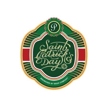 bottle label: Saint Patricks bottle label template. Vector illustration Illustration