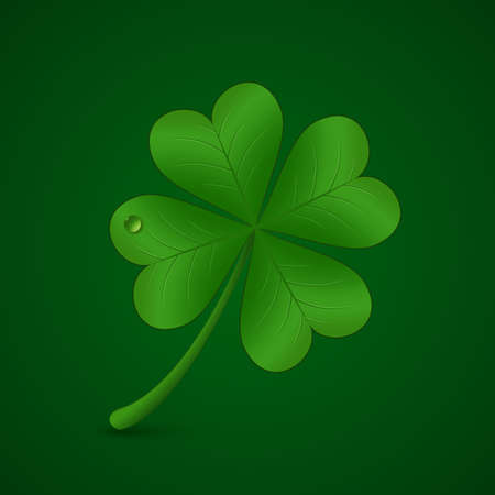 patricks day: Four leaf lucky clover illustration. St. Patricks day symbol