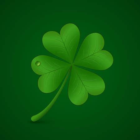 goodluck: Four leaf lucky clover illustration. St. Patricks day symbol