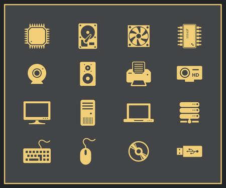 componentes: Hardware y perif�ricos de ordenador iconos. Componentes de PC Vectores