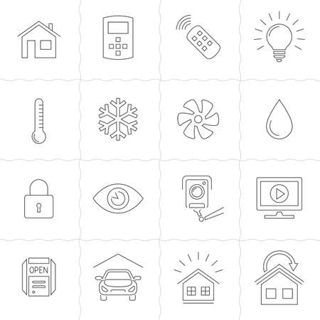 thin bulb: Smart Home and Smart House line icons