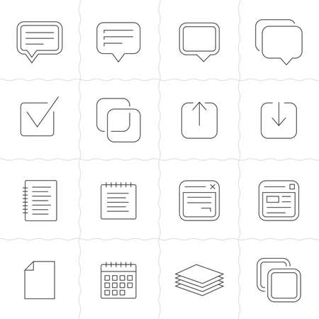 memos: Notes, memos and plans linear icons. Simple outlined icons. Linear style Illustration