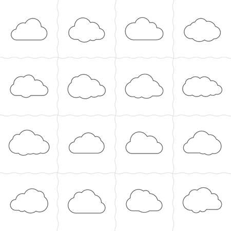sky line: Cloud shapes linear icons. Cloud icons for cloud computing web and app. Simple outlined icons. Linear style