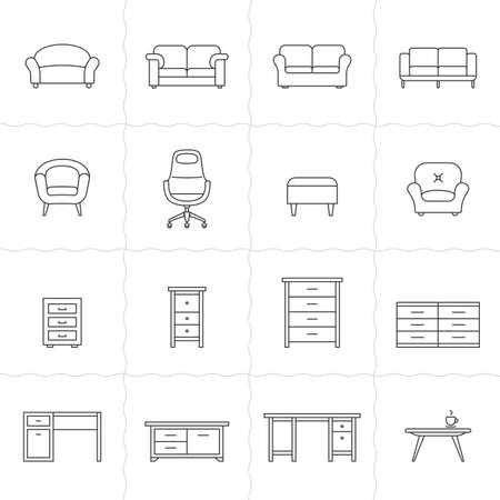 retailer: Collection of furniture icons. Icons for website of furniture retailer. Simple outlined icons. Linear style